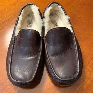 UGG Men's Brown Leather Ascot Slipper